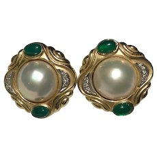 14k Estate Signed Diamond Mabe Pearl Chalcedony Earrings