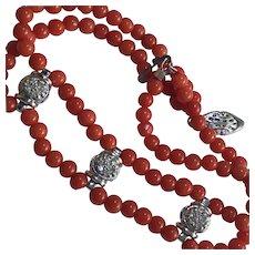 14k Natural Red Coral Diamond Bracelet