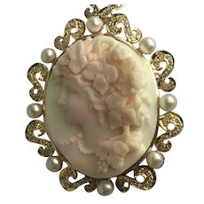 Museum Quality High Relief 14k Carved Conch Shell Cameo Diamond Pearl Pendant Brooch