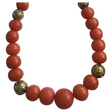 Antique Red Salmon Pink Coral Necklace 14k Cannetille Gold Beads