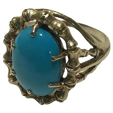 14k Large Genuine Turquoise Ring