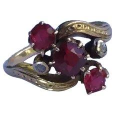 Rose Cut Diamond & Rubellite Tourmaline Ring Antique 14k