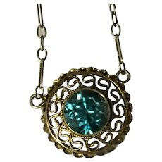 14k Blue Zircon Necklace