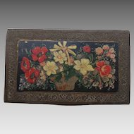 Late 19th Century Brass Box with Hand Painted Miniature of Basket of Flowers on the lid.