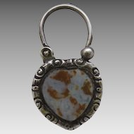 19th Century Scottish Sterling Silver and Agate Heart Shaped working Lock for a Bracelet or Necklace  circa 1870