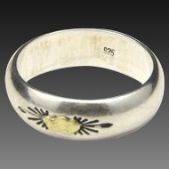Vintage Sterling Silver Ring Band with Inset Gold Nugget Men's Unisex Sz 7.75