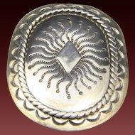 Vintage Navajo Stamped Sterling Silver Bolo Slide Artisan Crafted Southwestern