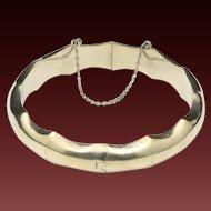 Vintage Bamboo Style Sterling Silver Hinged Bracelet Elegant