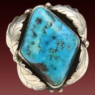 Vintage 70s Sterling Silver Turquoise Ring Leaf Motif Signed Southwestern Sz 10