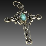 Vintage Cross Pendant Sterling Silver Scroll Work & Natural Turquoise