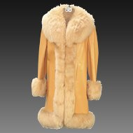 Vintage Butterscotch Leather & Shearling Coat Jacket Lantry Leathers Almost Famous Iconic