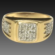 Vintage Men's Multiple Diamond & 10k Yellow Gold Ring Sz 9.75