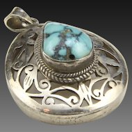 Vintage Sterling Silver & Turquoise Scroll Work Tear Drop Necklace Pendant