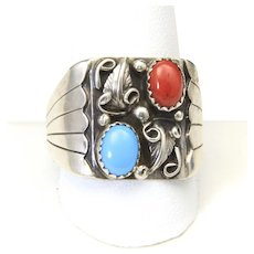 Vintage Navajo Sterling Silver Turquiose & Coral Mens Ring Sz 11.5 Signed BB