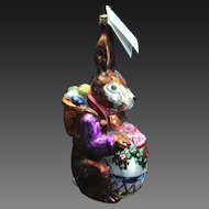 Vintage Retired Radko 1996 Easter Bunny Egg Glass Ornament Tag Box Hand Painted