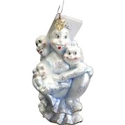 """Radko """"Boo Babes"""" Halloween Ghosts Glass Ornament Tag and Box Hand Painted"""