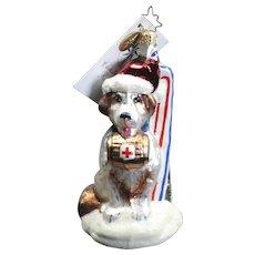 "Radko  ""Brave Bernard"" Dog Skis Hand-Painted Glass Christmas Ornament Tag"