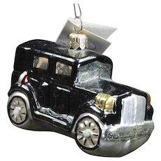 Vintage Radko 1996 Classic Black Car Glass Hand-Painted Christmas Ornament Tag
