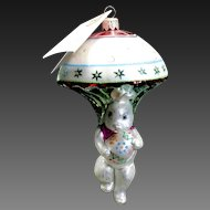 "Radko ""Bunny Jump"" Parachute Hand-Painted Glass Easter Ornament Tag & Box"