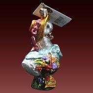 "Radko  ""Dainty Ducky"" Duck Bonnet Glass Easter Ornament Tag & Box Bird"