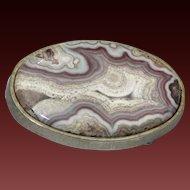 Vintage Large Crazy Lace Agate Stone Belt Buckle Heavy Gold-Tone