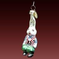 "Radko  ""Billy Bunny Gem"" Rabbit In Vest Hand-Painted Glass Easter Ornament"