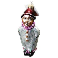 Vintage Radko 1995 Holiday Clown Kid Hand-Painted Glass Christmas Ornament Tag