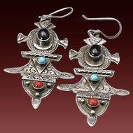 Vintage Ethiopian Cross Earrings Sterling Silver Amethyst Turquoise Coral