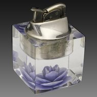 Vintage Mid Century 1950s Evans Lucite Refillable Table Lighter Purple Flower
