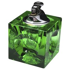 Vintage Nesor Mid Century Modern Green Cut Crystal Table Lighter Retro MCM