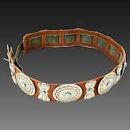 Vintage Native American Sterling Silver Turquoise Leather Concho Belt Southwest