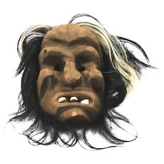 Vintage Hand Carved Cedar First Nations Wild Man Woman Mask Hanging Decor Signed