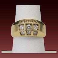Vintage Geometric 14k Yellow Gold & Multi Inset Diamond Ring Band Sz 8 Wedding