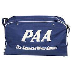 Vintage Blue Pan American World Airways Carry On Travel Bag Luggage