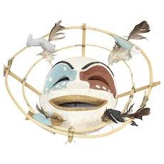Vintage First Nations Pacific Northwest Yupik Spirit Mask Bird Feather Large
