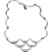 Vintage Modernist Mexican Sterling Silver Bib Necklace Taxco Geometric Ergonomic