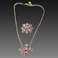 Vintage Aurora Borealis Glass Rhinestone Pendant Necklace and Brooch Pin Set