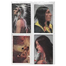 Vintage Postcard Lot of 5 Native American Individual Portraits & Lifestyle Pic
