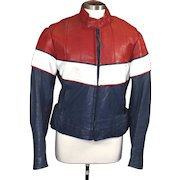 Vintage Vetter Red White Blue Rex Marsee Designs Racer Motorcycle Leather Jacket