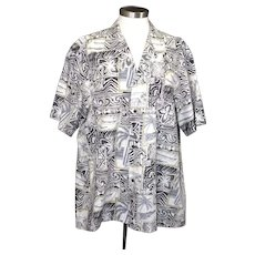 Vintage 70s Men's Hawaiian Shirt Royal Creations Gray Moss Green Beach Scene XL