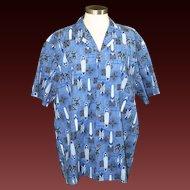 Vintage Men's Royal Creations Blue Surfboard Hawaiian Print Button Up Shirt XL