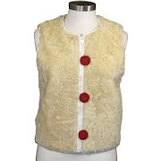 Vintage Knight Taylors Cream Lambs Wool Zipper Vest Big Red Buttons Retro Boho