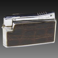 Vintage MCM Valentina Starlon Stainless Steel & Brown Leather Refillable Lighter