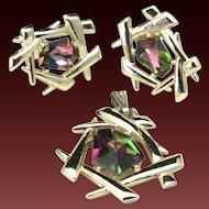 Vintage Coventry Gold Tone Modernist Aurora Rhinestone Set Earrings Pendant