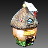 """Radko """"Shroom with a View"""" Easter Bunny House Glass Hand-Painted Ornament w/ Tag"""