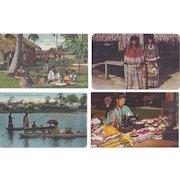 Vintage Postcard Lot of 4 Native American Seminole Indian Lifestyle