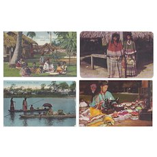 Vintage Postcard Lot of 4 Native American Seminole Indian Lifestyle