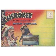 Vintage Cherokee Indian Reservation North Carolina Souvenir Accordion Folder