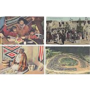 Vintage Postcard Lot of 4 Native American Indian Lifestyle Apache Acoma Seminole