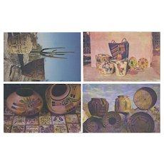 Vintage Postcard Lot of 4 Native American Indian Basketry and Pottery